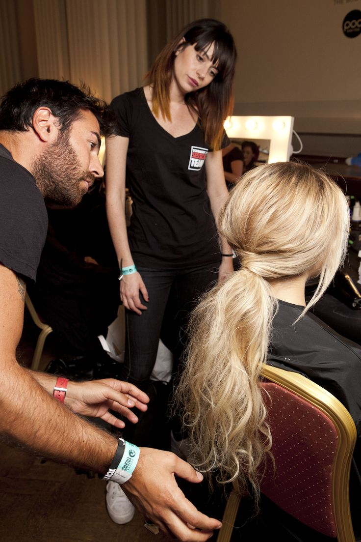 Perfectionist Richard Mannah inspects the #SabinaBryntesson SS13 dishevelled ponytail #LFW