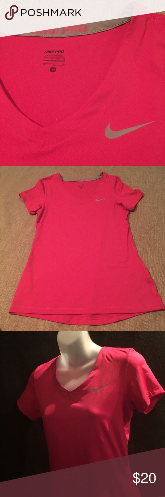 Nike Pro Dark Pink short sleeve Athletic top Sz: M Nike Pro Dark Pink short sleeve Athletic top Sz:M 84% polyester 16% spandex Great for the Gym! Nike Tops Tees - Short Sleeve