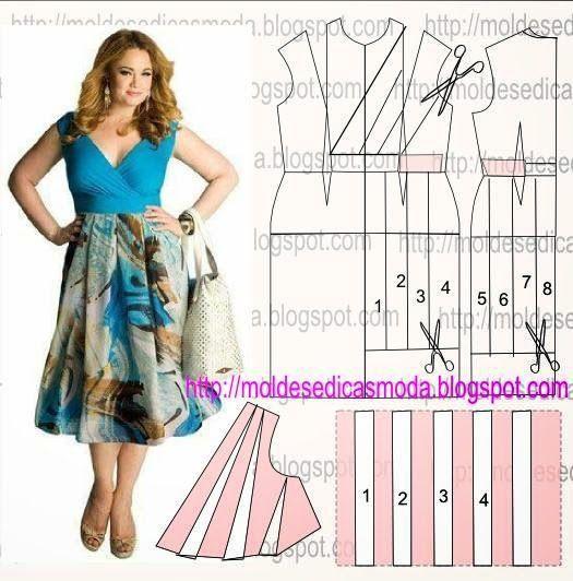 TRANSFORMAÇÃO MOLDE DE VESTIDO Desenhe o molde base, frente e costas. Desenhe o cinto nas frentes e costas do vestido. Copie para papel a parte da rotação