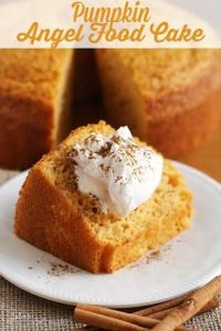 Pumpkin Angel Food Cake ~ Light, Airy Angel Food Cake with a Hint of Pumpkin! on MyRecipeMagic.com