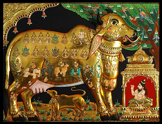 Embossed Kamadhenu (sacred cow) with 22 carat gold leaf, love the details!