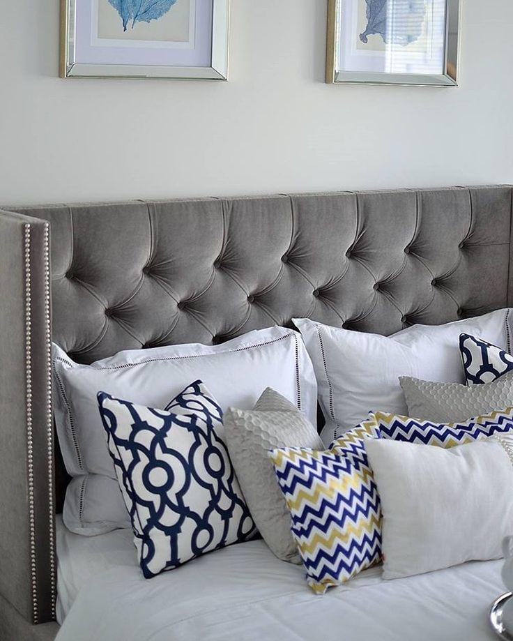 white and grey bedroom  #bedroom #newin #blueandwhite #pillow #myinteriorcats