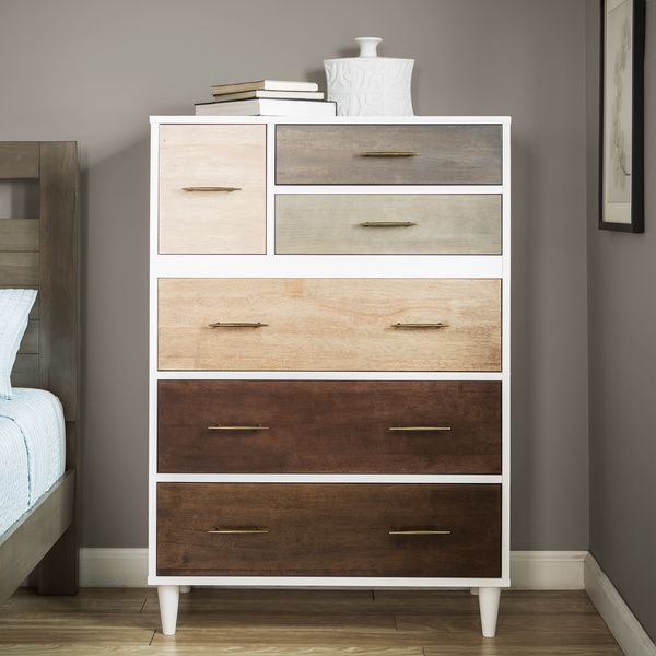 At $364 it's priced well, and with the drawers in different colors, it would match anything.  Alternatively, find a very cheap white chest and paint the drawers.  Maybe a gradient as pictured here:  https://s3-production.bobvila.com/slides/4685/original/ombre-painteddresser-thebungalowblog.jpg