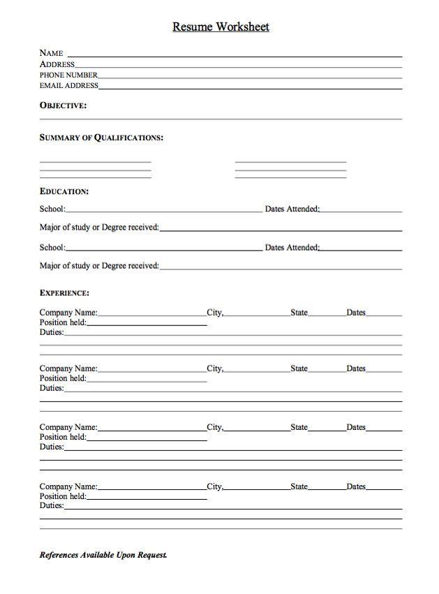 Resume Worksheet For Adults Sample Resume Worksheet Sample Resume Templates Teaching Resume Basic Resume