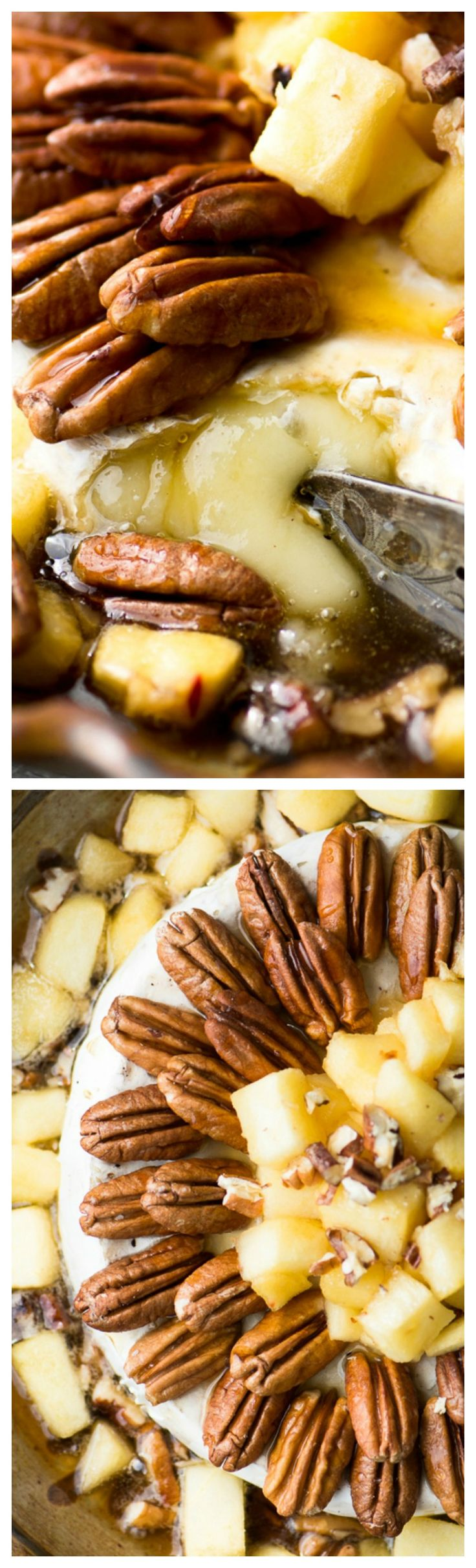 Baked Brie with Apples, Pecans, & Maple Syrup ~ Quick and easy... Gooey molten cheese and maple syrup, caramelized apples and crunchy roasted pecans.