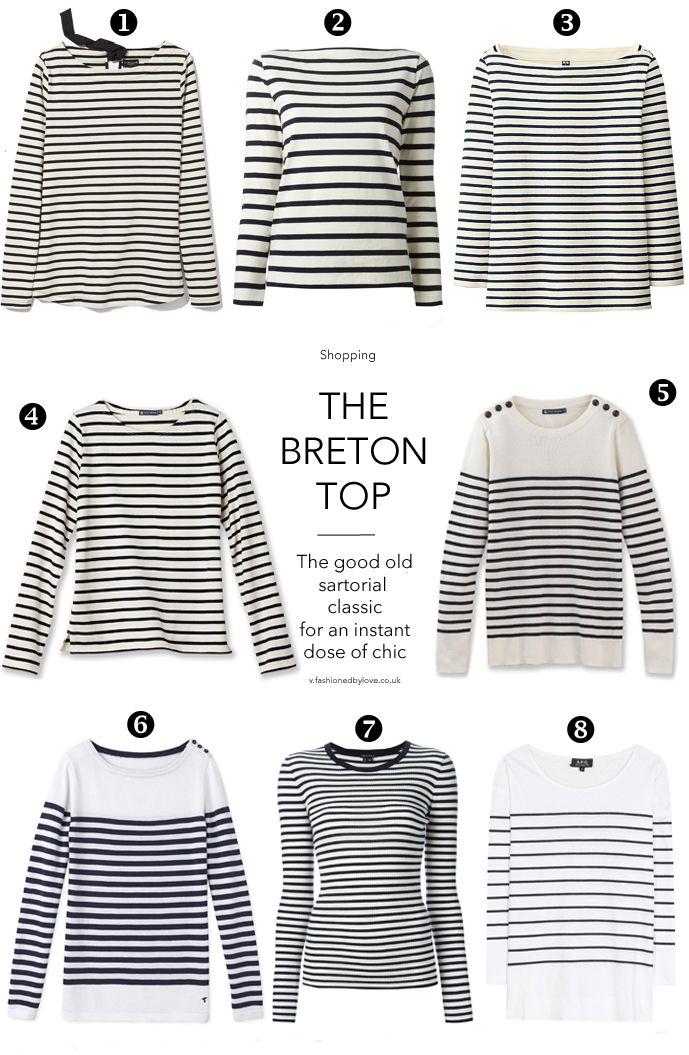 The brief history of the breton stripe top / wardrobe essentials / best breton tops for all budgets / fashion editorials featuring the breton top / stripes / how to style breton top / Camilla Rowe in Good vibrations / Vogue US June 2014 (photography: Angela Pennetta, styling: Tabitha Simmons), Vogue US January 1980 (photography: Alex Chatelain), Vogue US March 1983, Elle France February 1988, Christy Turlington in Vogue US April 1988 (photography: Patrick De...
