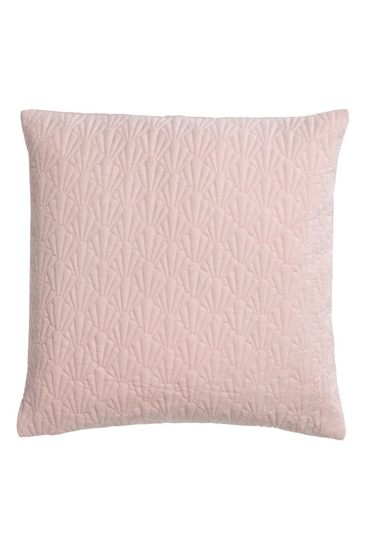 Pink. Cushion cover in cotton velvet. Padded at front with a stitched pattern. Concealed zip. Polyester fill.