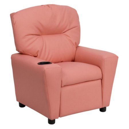Flash Furniture Kids' Vinyl Recliner with Cup Holder, Multiple Colors, Pink