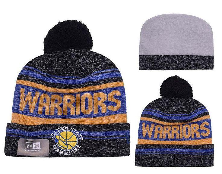 Men s   Women s Golden State Warriors New Era NBA Hardwood Court Snow Dayz Cuffed  Pom Knit Beanie Hat - Black   Blue  577c3419313a