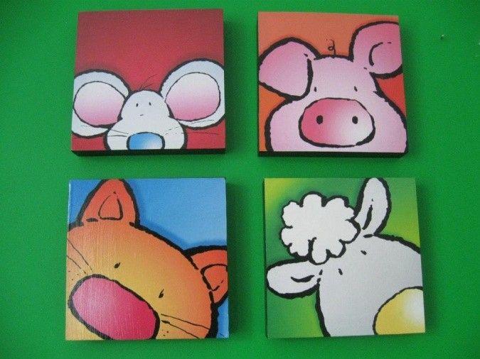 Decorá la habitación de tus chicos con mucho color y alegría! Set de cuadros artesanales para niños con imágenes de divertidos animalitos. Realizados sobre bastidores de madera con técnica decoupage. Medidas de cada cuadro: 20x20 cm. Precio del set completo: $ 192 Todos los cuadros pueden personalizarse con las imágenes que vos quieras. …