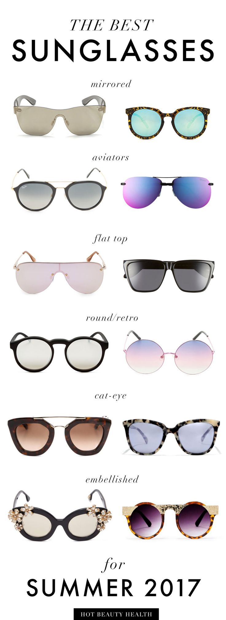 The Ultimate Women's Summer Sunglasses Guide for 2017! Find cute sunglasses to wear at the beach or to accessorize your outfits. So many different frames to choose (aviators, round/retro, cat eye, etc.) from brands like Ray Ban and Quay Australia.