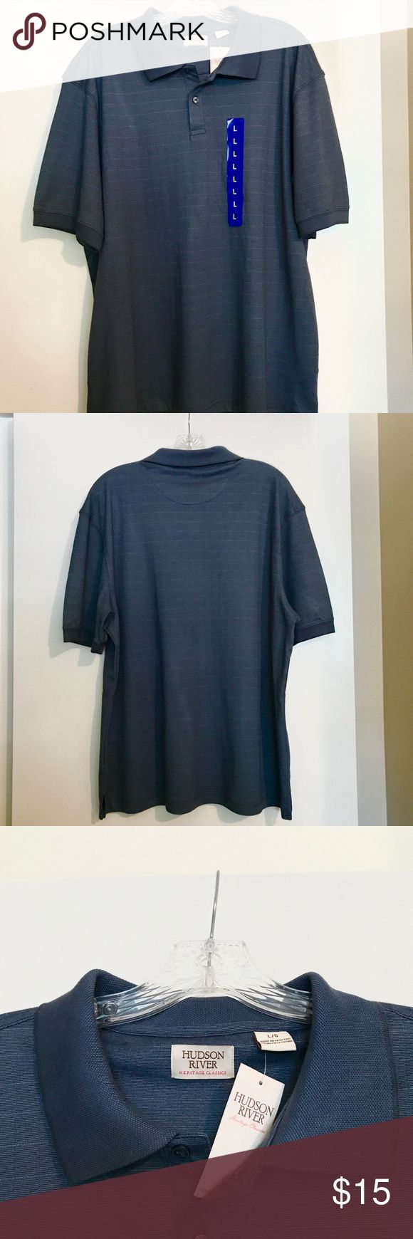Men's Blue Short Sleeve Polo Tee Hudson River Heritage Classics Men's Short Sleeve Polo Shirt ( Glacier Blue) Hudson River Clothing Co. Shirts Polos