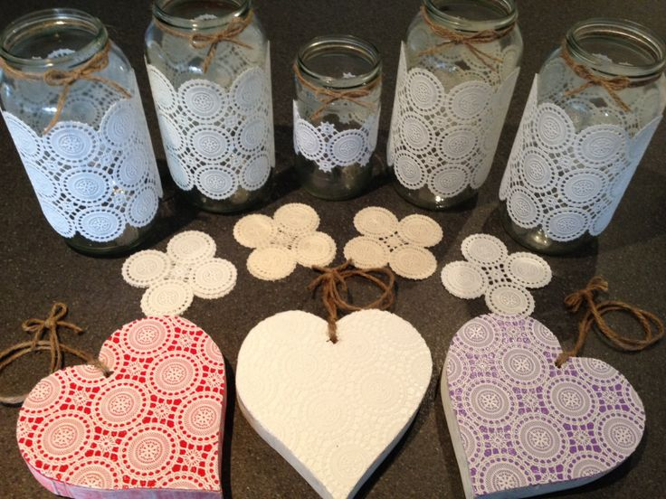 Faux doily hanging hearts, coasters & upcycled jars.