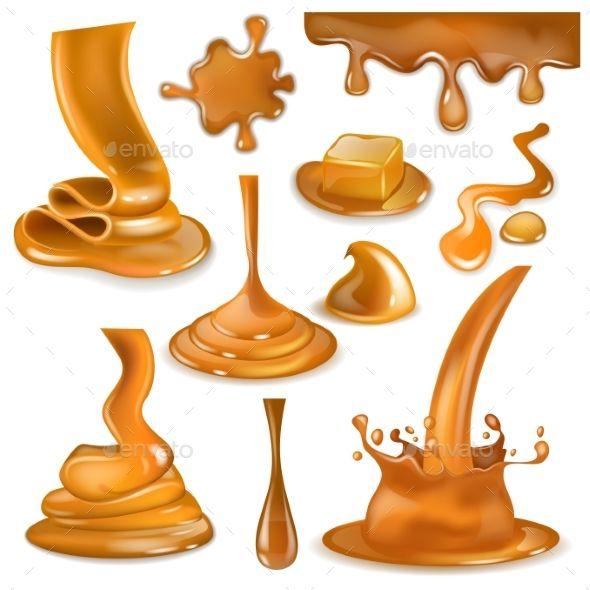 Caramel Splash Vector Sweet Flowing Liquid Sauce Vector Splash Caramel Sweet