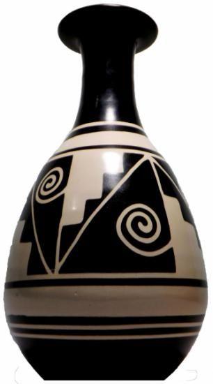 jarron decorativo black and white  arcilla,cerámica paleteado