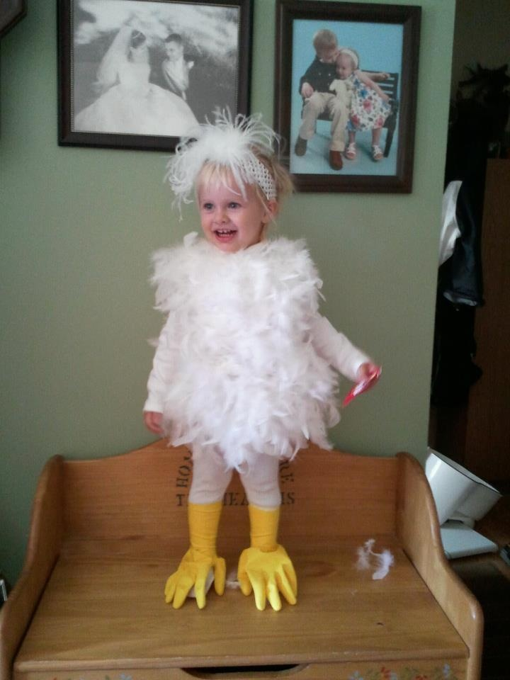 Chicken costume...OMG the rubber gloves on the feet kill me!!! hahaa
