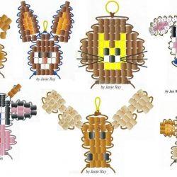 брелки из бисера, морды животных