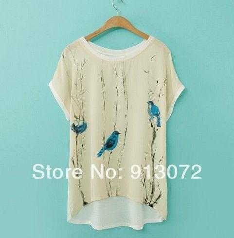 ST1587 New Fashion Ladies' Elegant bird print chiffon spliced T shirt O neck short sleeve shirt casual slim brand designer tops