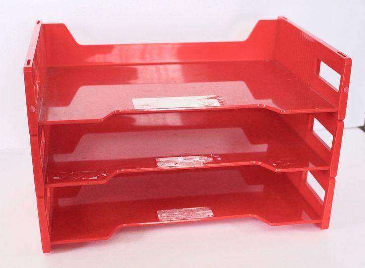 Vintage Red Plastic Letter Paper File Tray Organizer Sorter Desk Eldon Stackable #Eldon