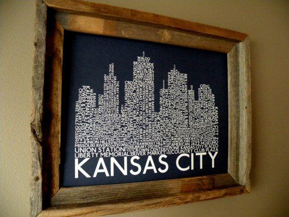 Kansas City Skyline Word Art Print by fortheloveofmaps on Etsy, $22.00
