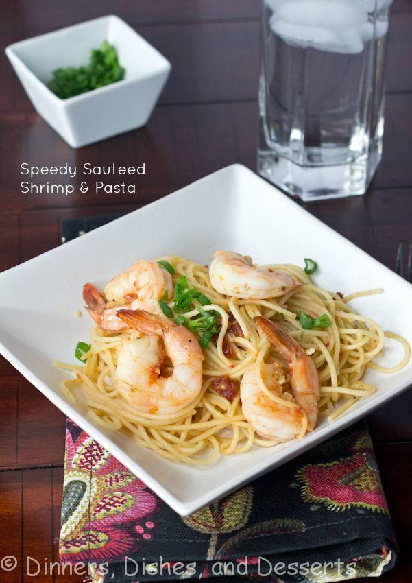 Speedy Shrimp Pasta | @dinnersdishesdessert