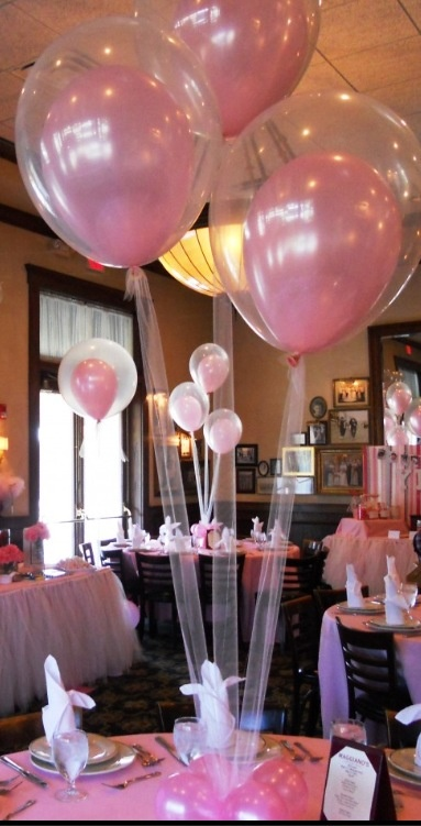 Pink balloon centerpieces with tulle girl birthday