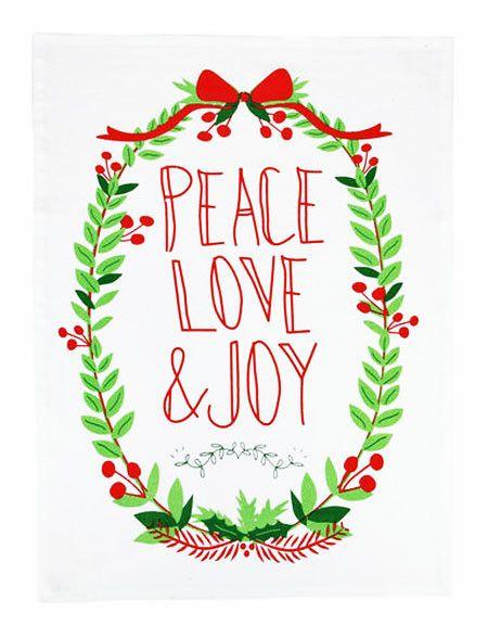 """""""Love, Peace, Joy"""" Christmas Message Cotton Kitchen Dish Towel Tea Towel"""