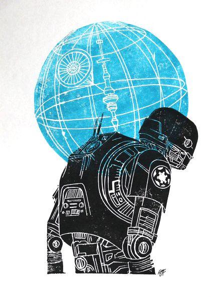 K-2SO lino cut print by Rachel Jane Findlay