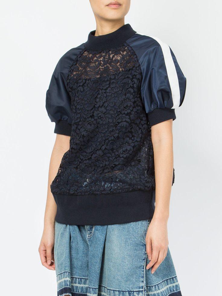 Sacai puff sleeved lace sweatshirt