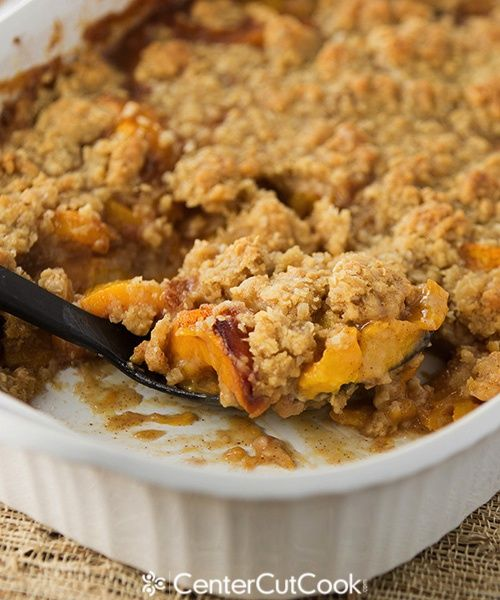Fresh peach crisp- I added a cup more oats and decreased the butter to 1/2 cup