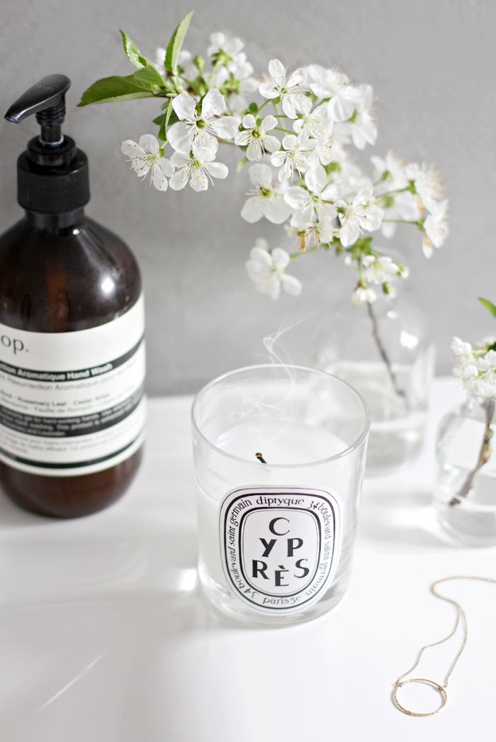 In the bathroom, scented candle, cherry blossom, Aesop