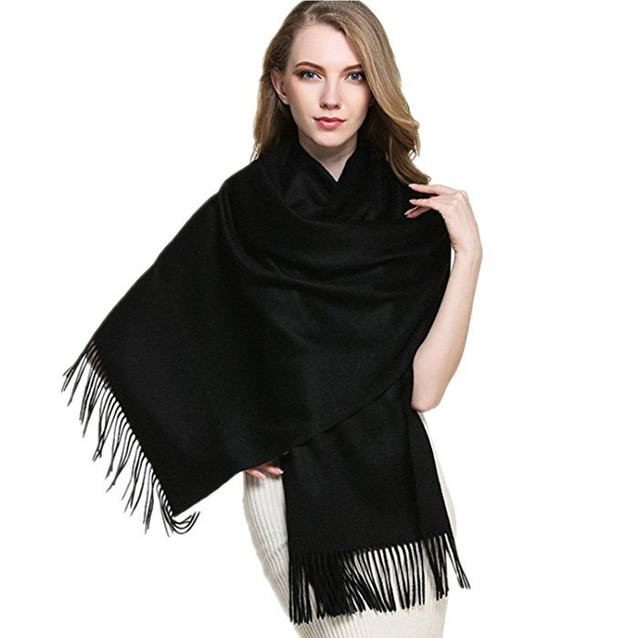 """Saferin Extra Large 78"""" X 28"""" Women and Men Thick Solid Cashmere Pashmina Wrap Shawl Scarf w/ Gift Box (1.black)"""
