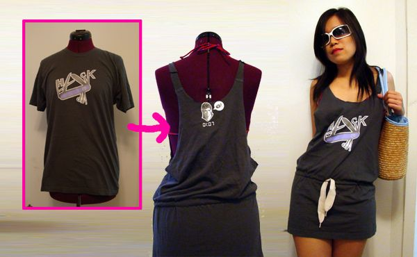 t-shirt tunic swimsuit cover. A more complicated upcycle for a t-shirt.