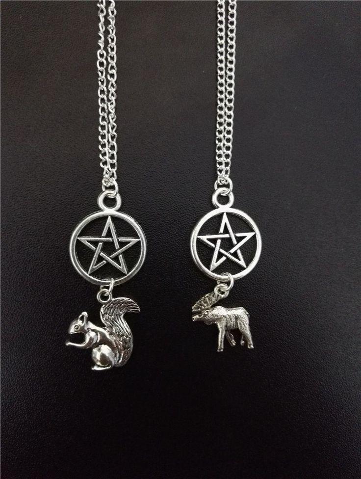Silver Plated Moose/Squirrel Pentagram Necklace