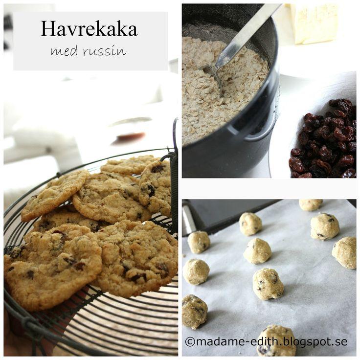 Enkel småkaka - Havrekaka med russin - Receptet ger ca 24 st kakor Recept 6 dl havregryn 3 dl strösocker 2 dl vetemjöl 1,5 ts...
