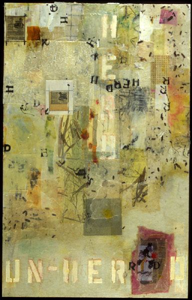 Encaustic Artist Mary Black - Encaustic Art Mixed Media on Paper - Breaking Away From The Herd