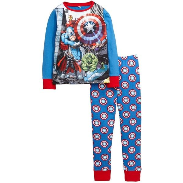 Marvel Avengers Team Print Shield Pyjamas ($10) ❤ liked on Polyvore featuring intimates, sleepwear, pajamas, long sleeve pyjamas, marvel pajamas, long sleeve pajamas and long sleeve sleepwear