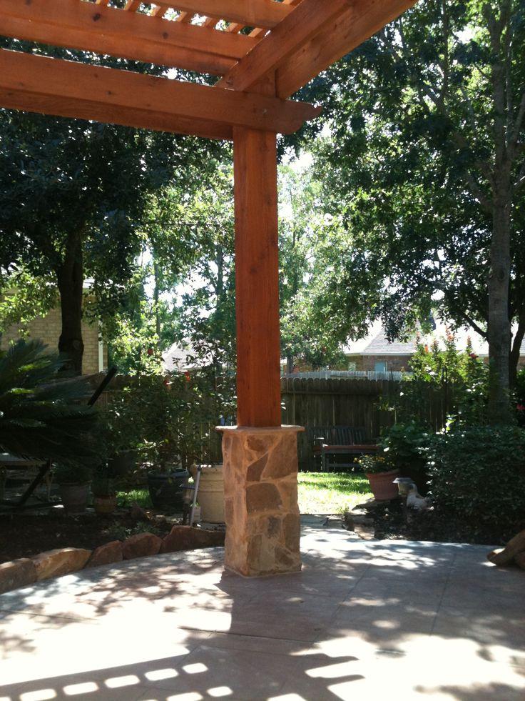 Stone Column With 8 Quot X8 Quot Cedar Post Pergola And Column