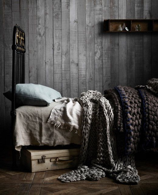 Photography by Sharyn Cairns and styling by Glen Proebstel_Little DandelionBeds, Grey, Knit Blankets, Design File, Bedrooms, Knits Blankets, Knitted Blankets, Chunky Knits, Chunky Blanket