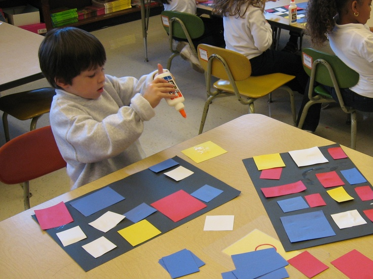 "Piet Mondrian Project: (for kinders) Provide different sized squares in white & primary colors (discuss primary) and a black construction paper sheet. Kids can glue the squares down making sure to leave black as borders around the colored squares. Reference Mondrian's ""Composition"" examples."