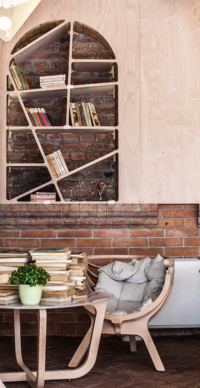 Méchant Design: lifestyle in Cluj-Napoca Arched window opening bricked in and turned into a bookshelf!!