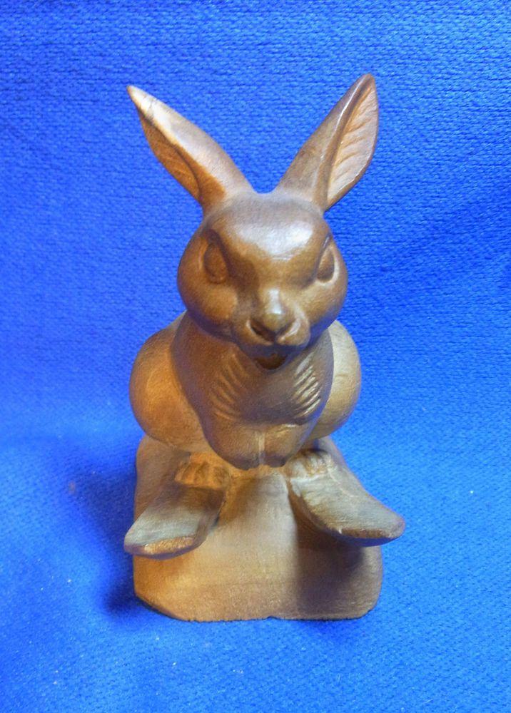 Cute Vintage German Wood Carved Rabbit on Ski Figure #BL