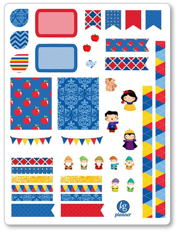 One 6 x 8 sheet of dwarf friends decorating kit/weekly spread planner stickers cut and ready for use in your Erin Condren life planner, Filofax, Plum