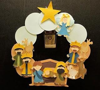 Cricut paper dolls dress up Christmas nativity wreath