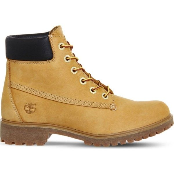 Timberland Slim premium leather 6-inch boots (£130) ❤ liked on Polyvore featuring shoes, boots, slim boots, real leather boots, lightweight boots, leather shoes and water proof boots