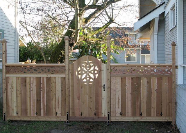 Add a touch of whimsy to an otherwise plain wooden gate by carving a fun, decorative accent like a Celtic knot or other fanciful design.