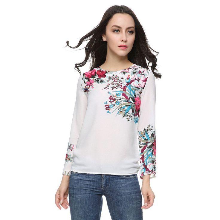 Women floral print white chiffon blouses vintage O neck long sleeve shirts Blusas Femininas European casual vintage tops  #outfit #nofilter #details #hautecouture #streetstyle #australianbrand #momuaccessori #fashiondiaries #pretty #model