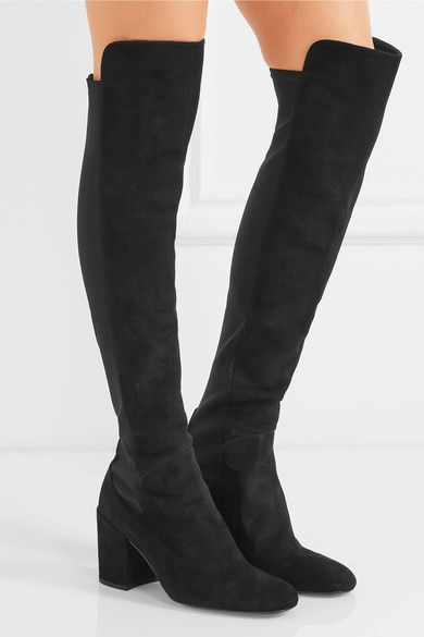 Stuart Weitzman - Halftime Suede And Stretch Over-the-knee Boots - Black - IT36.5