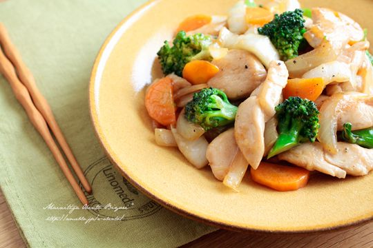 Chicken marinaded in soy sauce. Pan fry chicken with cabbage, onion, carrots, broccoli in sesame oil. Mix in ginger, chicken bouillon, soy sauce, sake, salt, pepper and a little bit of potato starch until sauce is thickened.