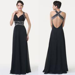 černé sexy dlouhé večerní společenské šaty - plesové šaty, svatební šaty, společenský salón